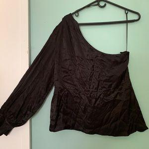 New Zara Evening One Shoulder Top XL Long Sleeve